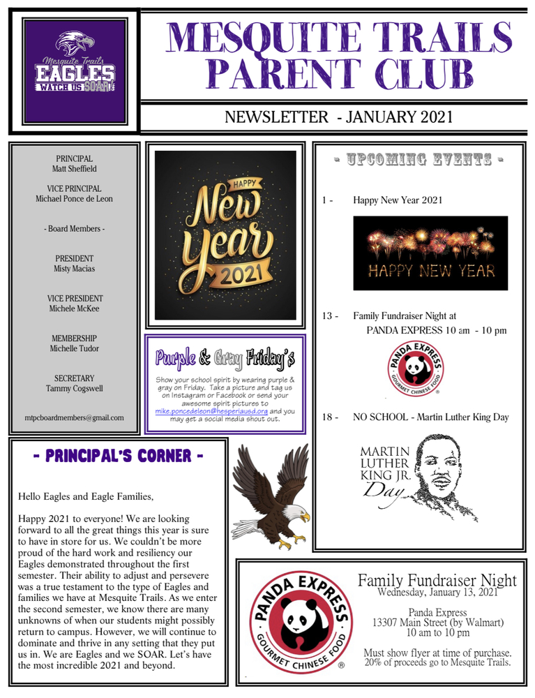 January Newsletter from Parent Club