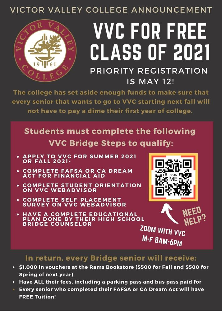Victor Valley  College Class of 2021 Annoucement!