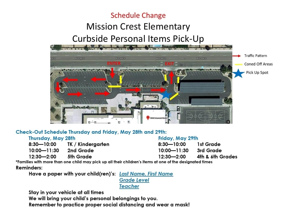 Personal Items Pick-Up Schedule