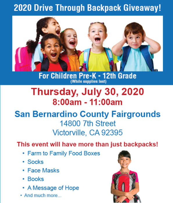 2020 Drive Through Backpack Giveaway