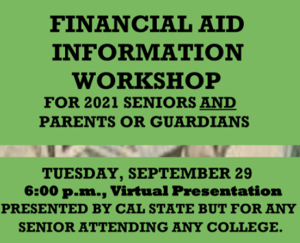 Financial Aid Information for Class of 2021