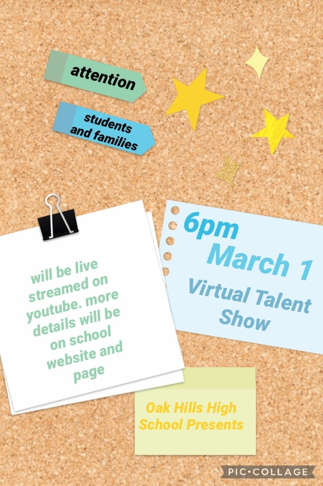 Virtual Talent Show, Tonight at 6pm