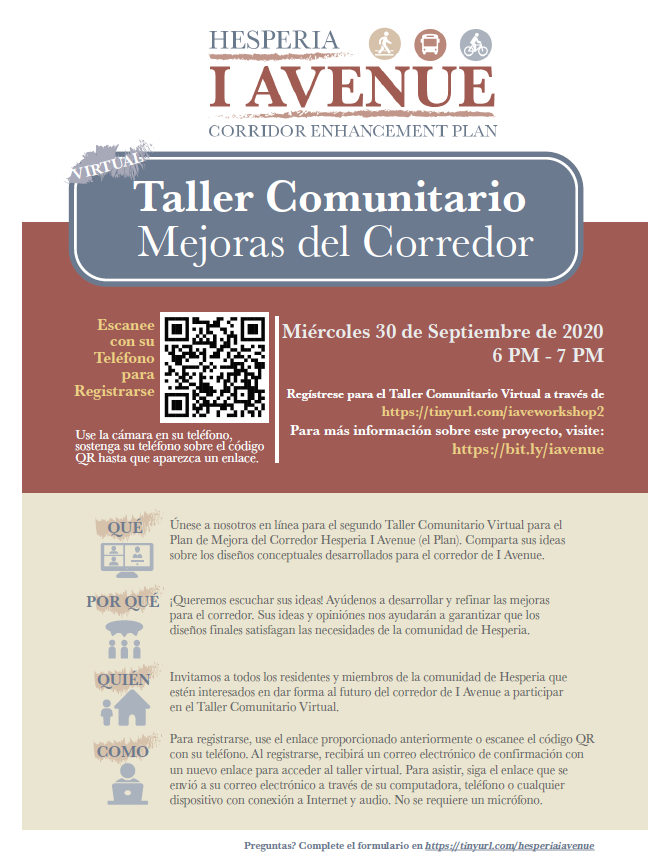 I Avenue Corridor Enhancement Plan Community Workshop Spanish Flyer