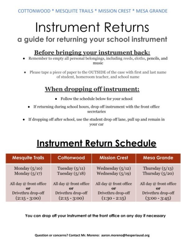 Instrument Return Schedule