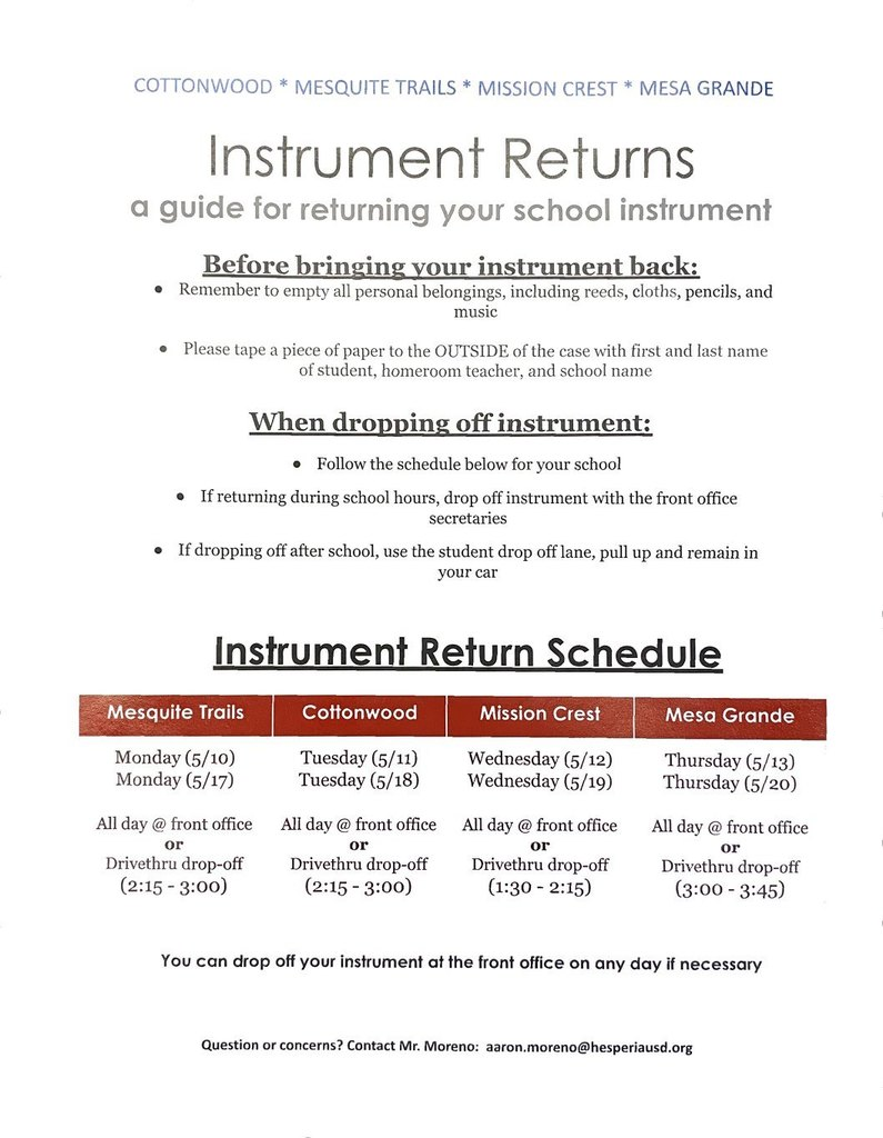 Instrument Return Information
