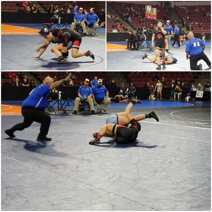 Athena Willden starting the day off right for the Bulldogs at the Wrestling State Championships in Bakersfield with a pin!