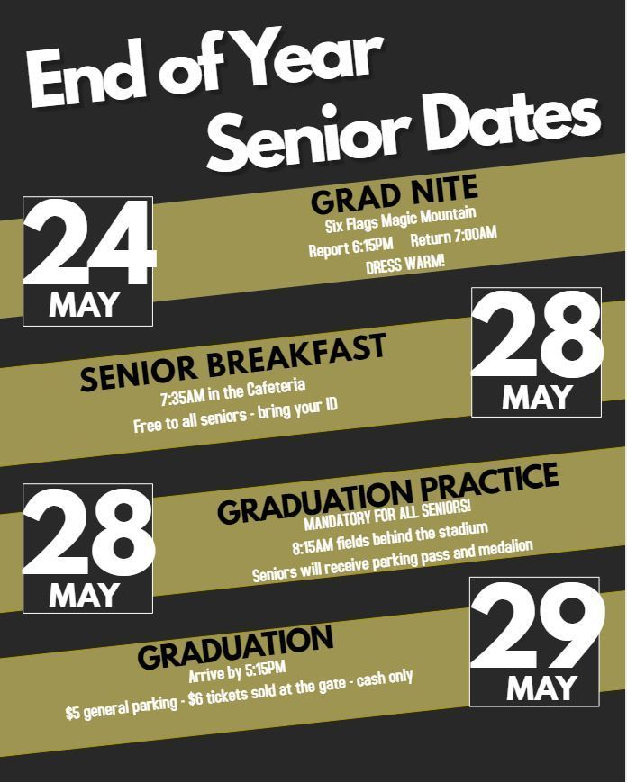End of Year Senior Dates 2019