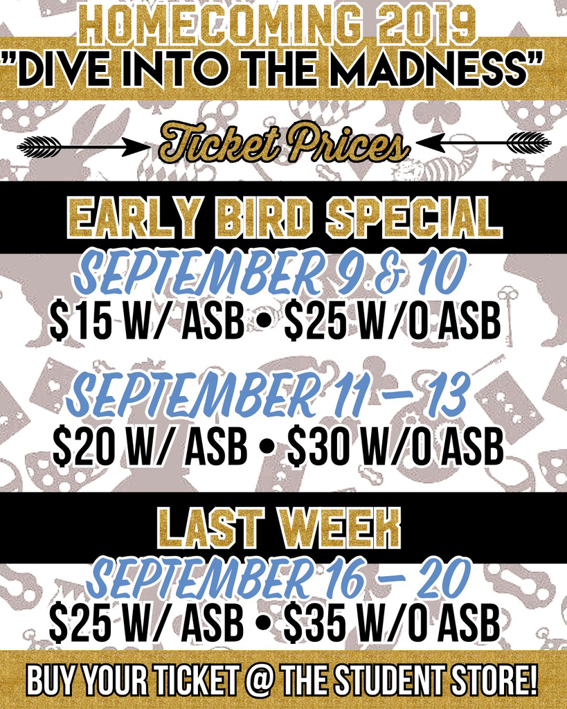 Homecoming prices 9/9-9/10 early bird pricing