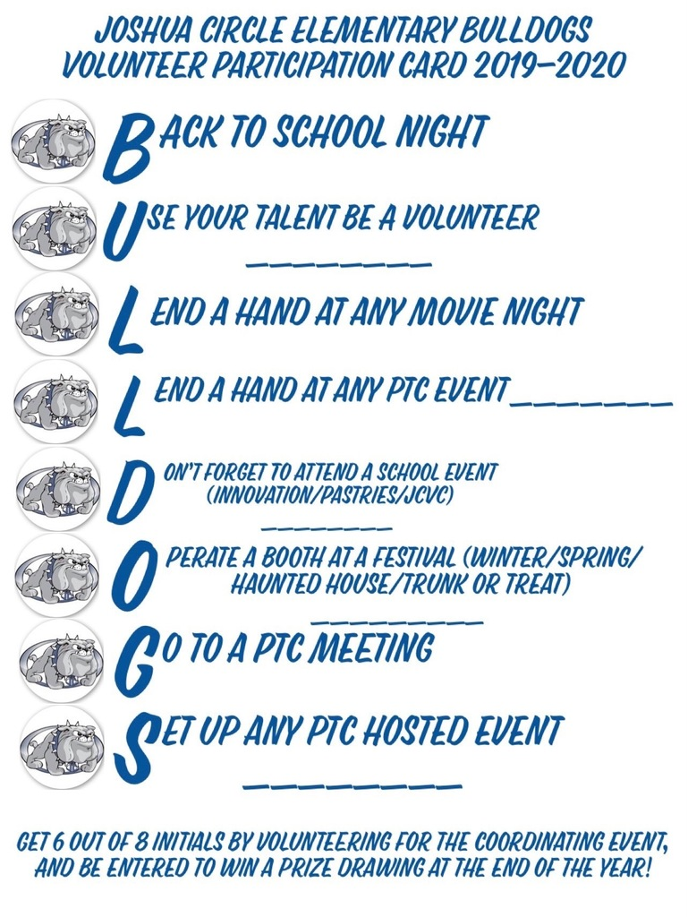 Back to School Night Volunteer Card