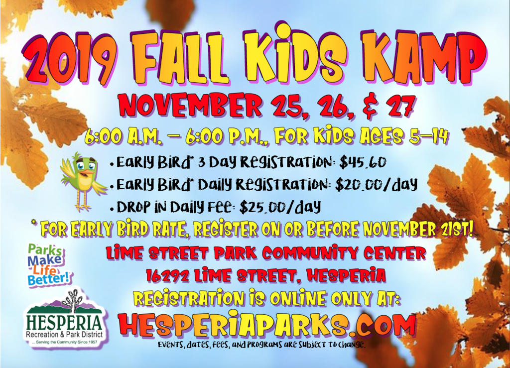 Flyer for Hesperia Recreation and Park Department's 2019 Fall Kids Kamp