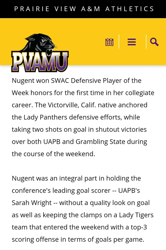 Former Lady Bulldog soccer player Andrea Nugent making an impact at the next level! Keep up the good work Dayday! https://pvpanthers.com/news/2019/10/28/womens-soccer-a-trio-of-lady-panthers-sweep-swac-soccer-honors.aspx