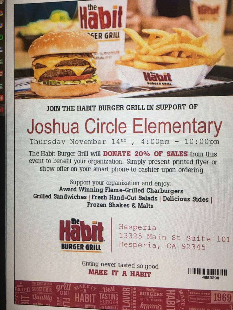 The Habit Dine out fundraiser Flyer