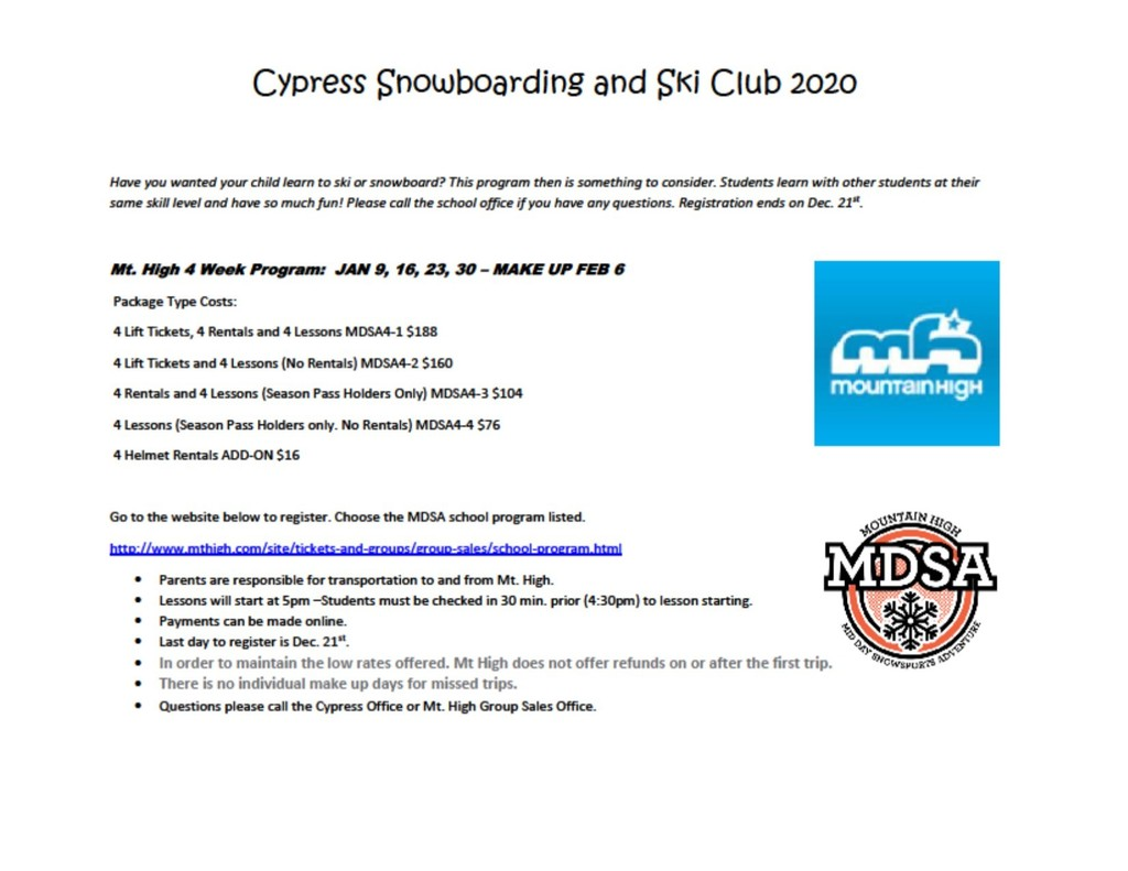 Snowboarding Ski Club Jan. 2020