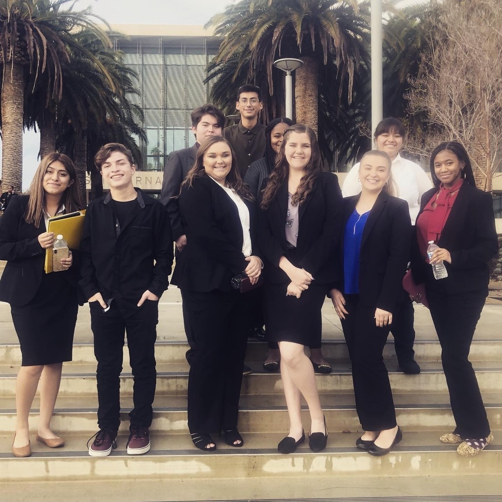Mock Trial team on stairs