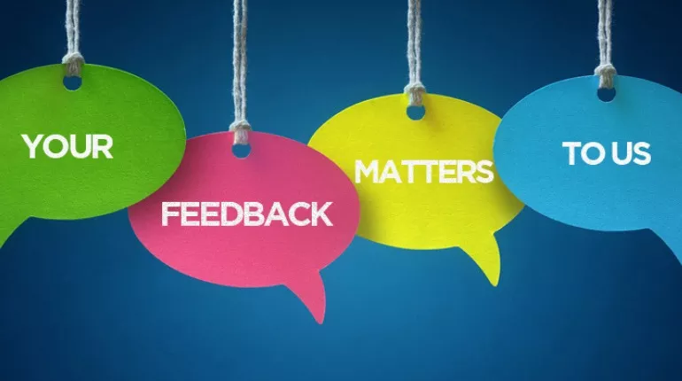 Speech bubbles that say your feedback matters to us