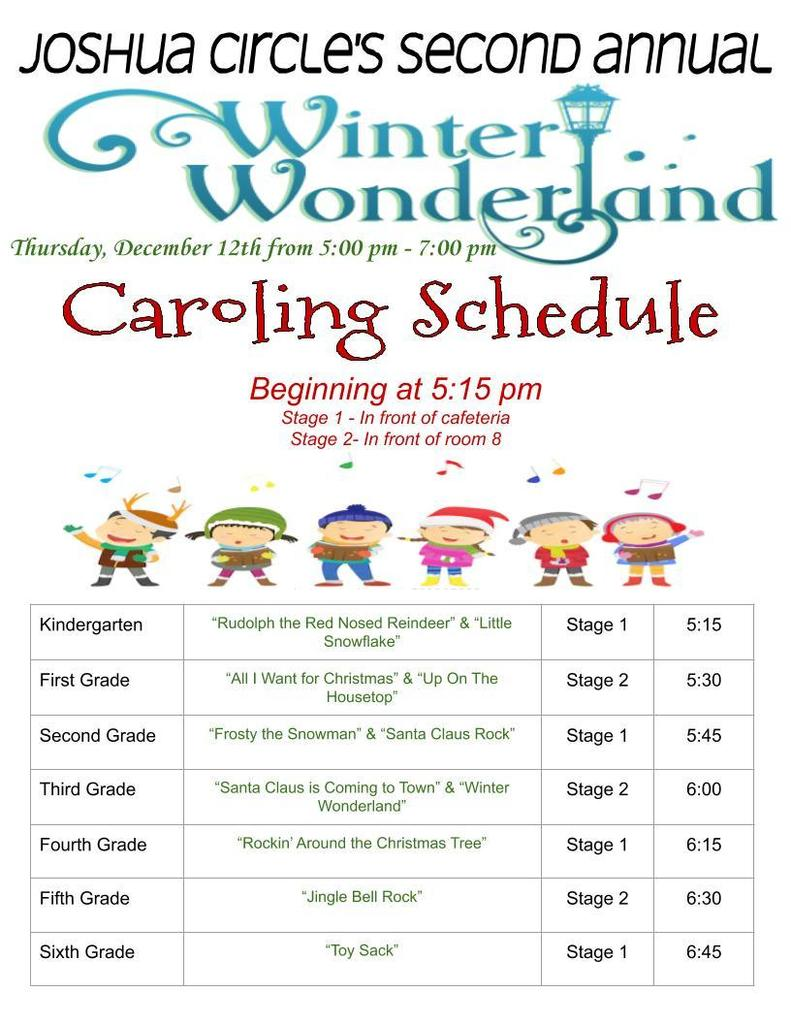 Winter Wonderland Caroling Schedule