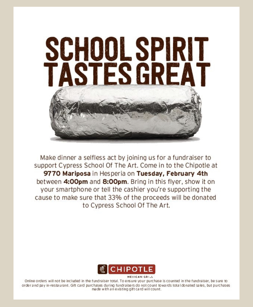 Chipotle Fundraiser Night