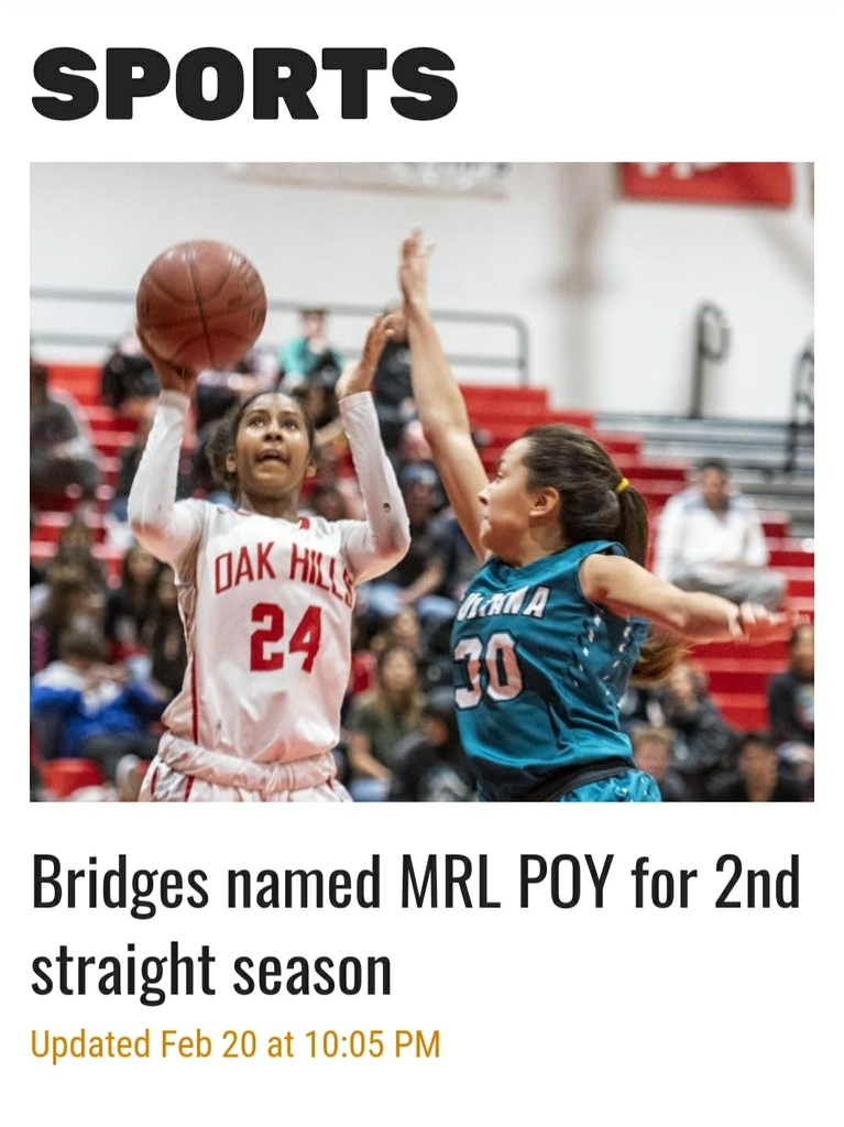 Your very own Sage Bridges gets recognized as the girls basketball MRL Player of the Year back-to-back! Congrats on receiving the honor again and to your team for winning their 9th consecutive MRL Title for Girls Basketball!