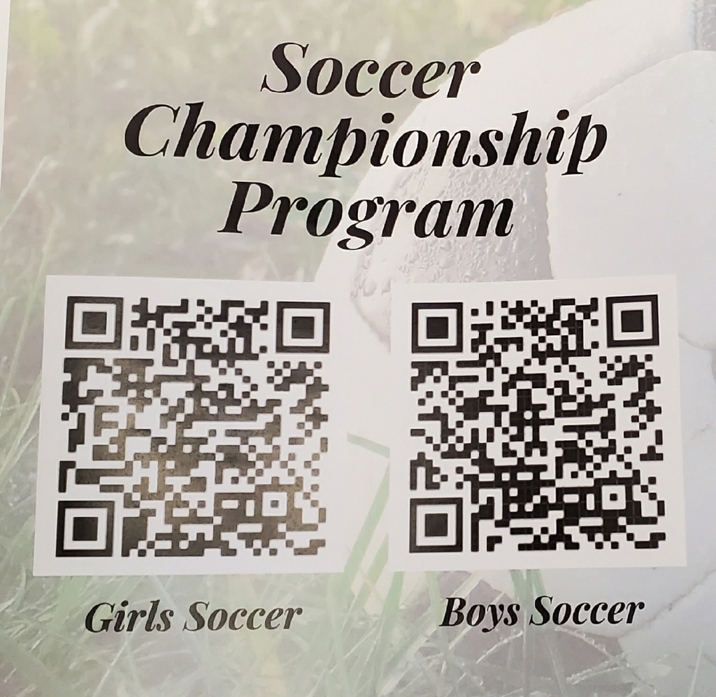 Girls soccer at Warren HS Sat @ 1:30pm. We are the visiting team. Please park in the visitors parking lot to save yourself a long walk. Visitors entrance is on the north side of the stadium. Also, here are the QR codes for the Finals programs, which go live Friday!
