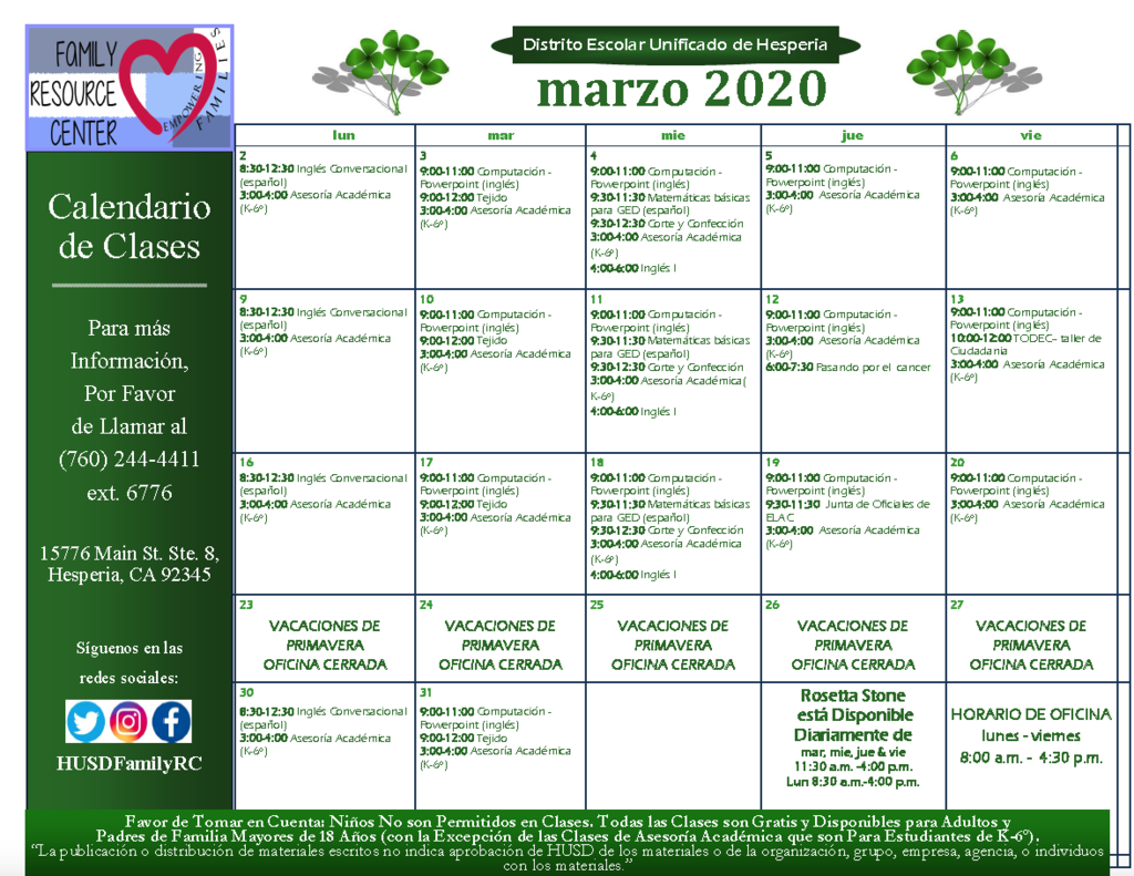 HUSD Family Resource Center March Calendar (Spanish)