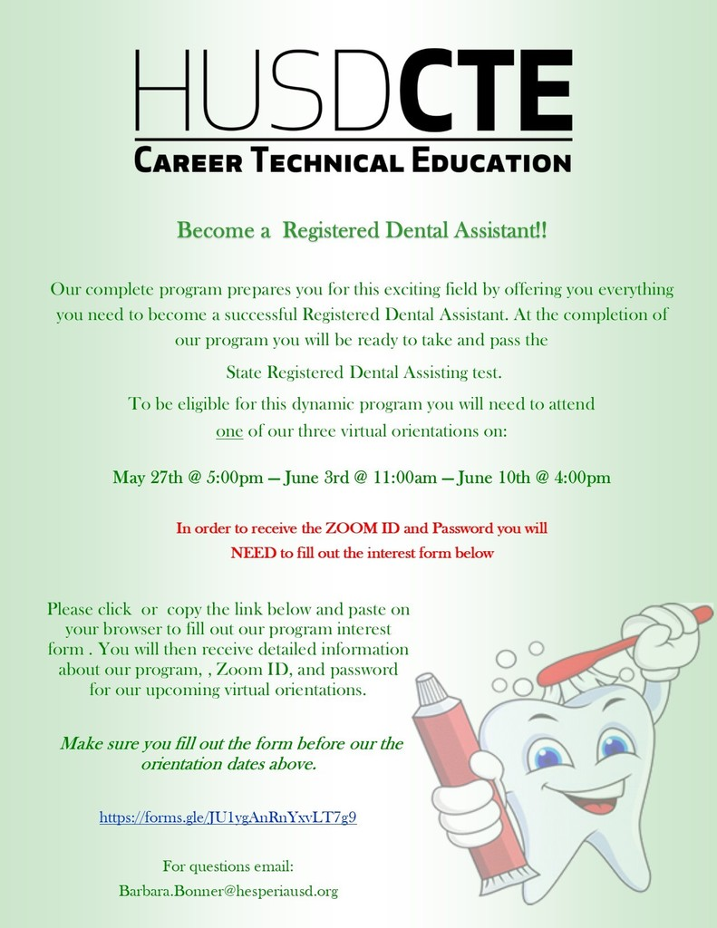 Registered Dental Assistant Orientation Flyer