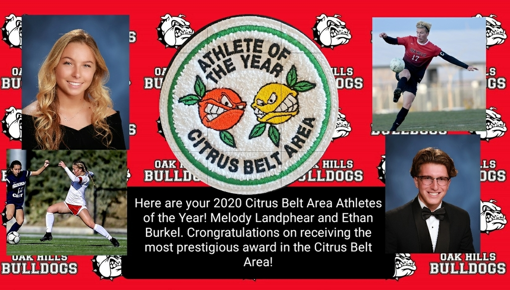 Here are your Citrus Belt Area Athletes of the year!!! Congratulations Melody Landphear and Ethan Burkel. Well deserved awards after leading your teams to CIF Championships this year!