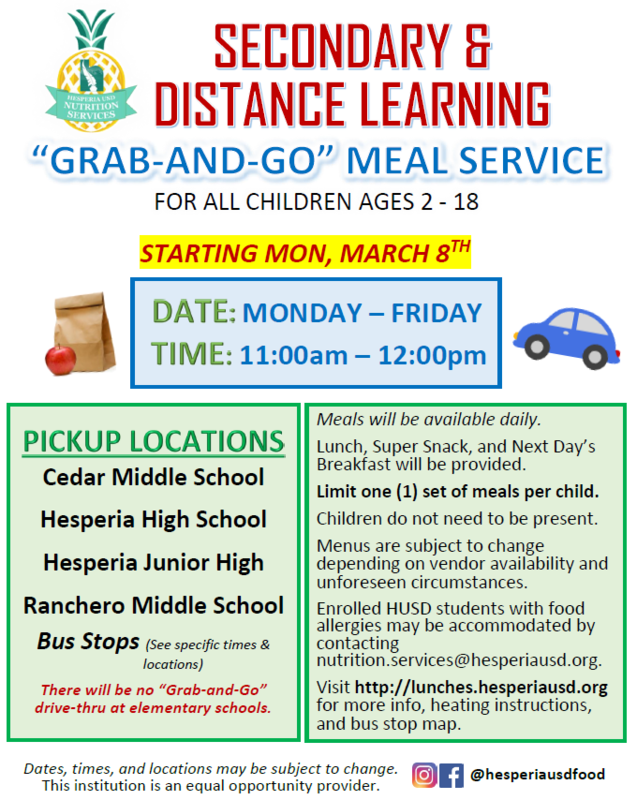 Secondary and distance learning grab-and-go flyer